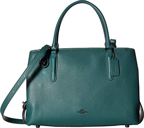 COACH Women's Pebbled Brooklyn 34 Carryall Dark/Dark Turquoise Black One Size
