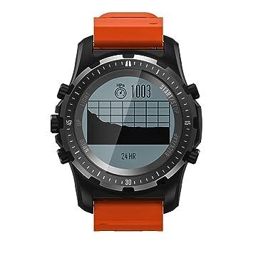 Gskj Reloj Inteligente GPS Reloj Deportivo Impermeable Monitor de Pulso cardiaco termómetro Movimiento Hombres Brújula Correr Reloj Deportivo,Orange: ...