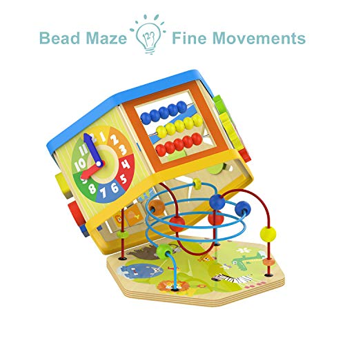 TOP BRIGHT Activity Cube Toys Baby Educational Wooden Bead Maze Shape Sorter 7-in-1 Toys for 1 Year Old Boy and Girl Toddlers Gift by TOP BRIGHT (Image #2)