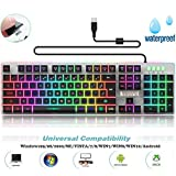 Backlit LED Wired Gaming Keyboard, Rainbow Mechanical Feeling Keyboard with Water-Resistant Adjustable Backlight USB Wired Illuminated Computer Keyboard for PC Games Office (K2 Black)