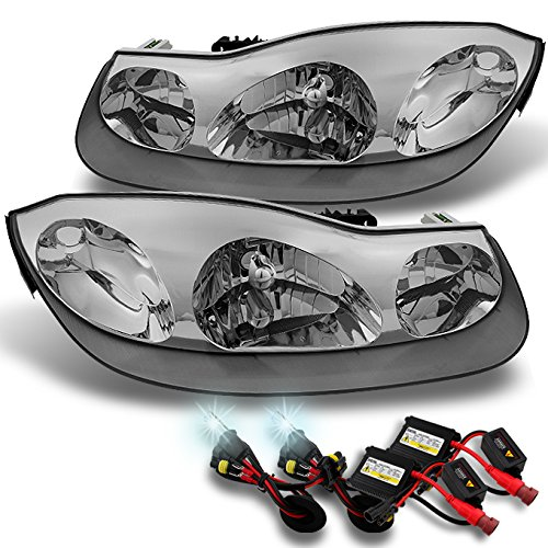 For Saturn S Series SC1 SC2 Coupe Chrome Clear Headlights Replacement + Slim Ballast 6K White (Sc1 Sc2 Coupe)