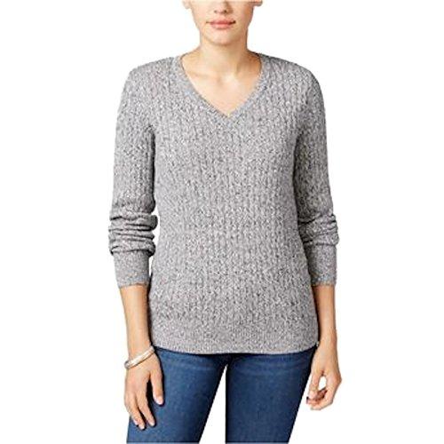 Karen Scott Womens Marled V-Neck Pullover Sweater B/W (Scott V-neck Cardigan)