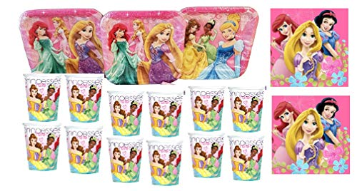 Disney Princess Party Pack. Contains 24 Disney Princess Plates, 24 Disney Princess Cups, 32 Disney Princess Party Lunch Napkins. Bundle of -