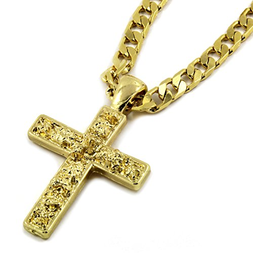 (Mens Gold Tone Tiny Nugget Cross Pendant Hip-Hop 5mm/24