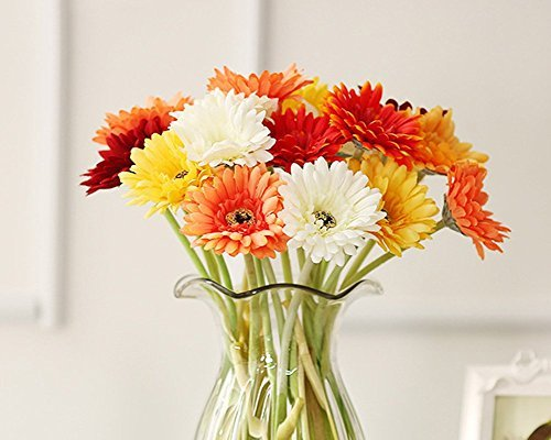 10 Pack- Real Touch Latex Silk Artificial fake plastic Daisy Chrysanthemum Flowers Sun Chrysanthemum,Sunflower, Simulation Gerber, Dimorphotheca,Party Room home Decoration DIY Flower Bouquet