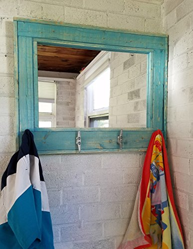 Renewed Décor Herringbone Style Beachhouse Mirror with boat cleats in Teal Stain - Large Wall Mirror - Rustic Modern Home - Home Decor - Mirror - Housewares - Woodwork - - Mirror Teal