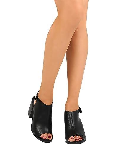 062721ad2995 Liliana FD18 Women Leatherette Perforated Peep Toe Chunky Heel Slingback  Mule - Black (Size
