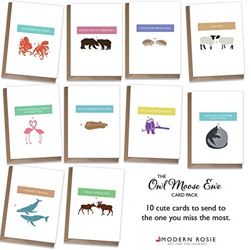 I Miss You Cards - Animal Puns - Set of 10 -