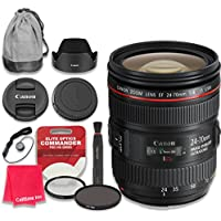 Canon EF 24–70mm f/4L IS USM Lens with Elite Optics Commander Pro HD Series Ultra-Violet Protector UV Filter & Circular Polarizer CPL Multi-Coated Filter - International Version