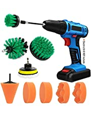 12 Pcs Drill Brush Car Detailing Kit - Car Polishing & Buffing Pads Kit - Soft Bristle Power Scrubber with Extend Attachment for Cleaning Car Interior, Boat, Bathroom