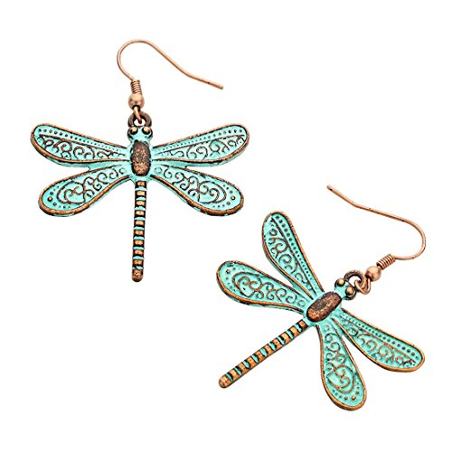 Turquoise Dragonfly Earring (Metal Dragonfly Earrings Antiqued 2 Inches Long (Copper with Turquoise Patina))