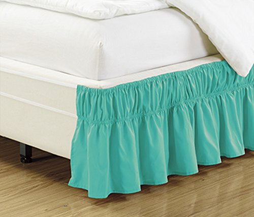Turquoise Ruffled (Wrap Around TURQUOISE BLUE Ruffled Elastic Solid Bed Skirt Fits both TWIN and FULL size bedding High Thread Count 14 inch fall Microfiber Dust Ruffle, Silky Soft & Wrinkle Free.)