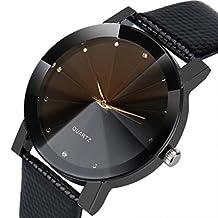Male Quality Leather Belt Casual Fashion Watches Quartz Watches, Retro Design Leather Wrist Watch (Black D)