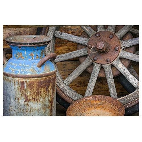 - GREATBIGCANVAS Poster Print Entitled Antique Milk Can, Wagon Wheel and Gold Pan, Alaska by Don Paulson 30