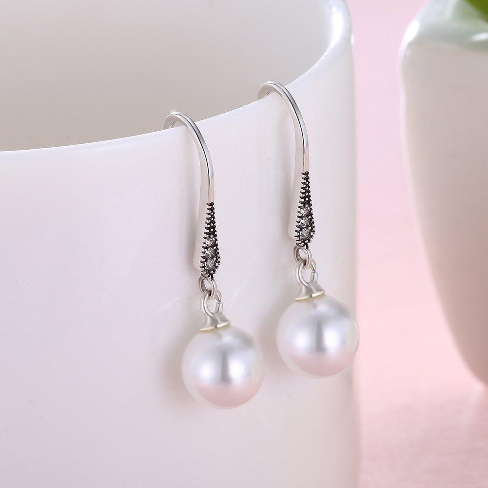 925 Sterling Silver 8mm Imitation Pearls Dangle Earrings 18K White Gold Crystal Zircon Drop Earrings