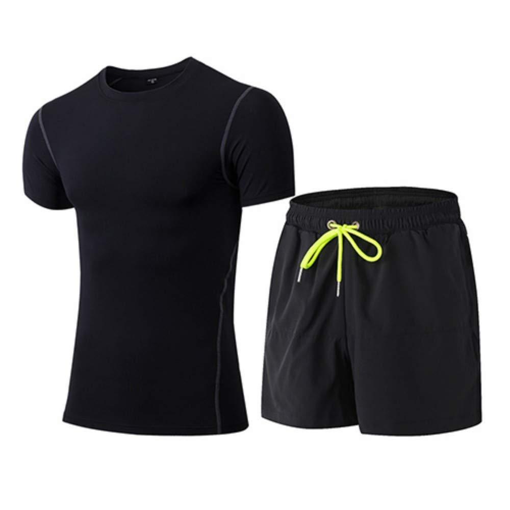 ZJBSW Sportbekleidung 2 Stücke Männer Sport Anzüge Laufbekleidung Kurze Kompression Strumpfhosen Gym Fitness T-Shirt Schnell Trocken Sportbekleidung