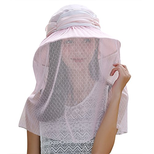 Mosquito Protective Clothing (Women Foldable 360 Head Net Removable Mesh Sun Hat, UPF 50+ Wide Brim Adjustable Breathable Anti-mosquito Bee Bug Insect Fly Beekeeper Mask, Anti-UV Protective Portable Summer Veil Cap)