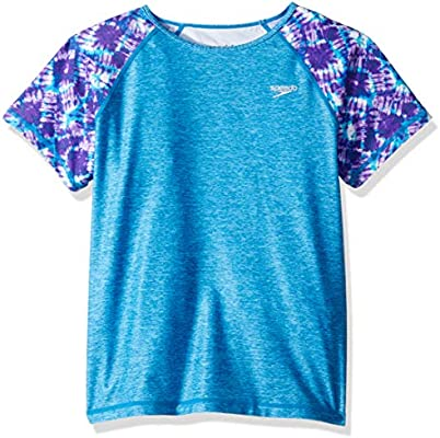 Speedo Girls Printed Sleeve Rash Guard 7-16 Speedo Swimwear 7714724-P