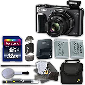 Canon Powershot SX720 HS 20.3MP Digital Camera (Black) with 32GB High Speed Memory Card & Extra Battery + Accessory Bundle (12 Items)