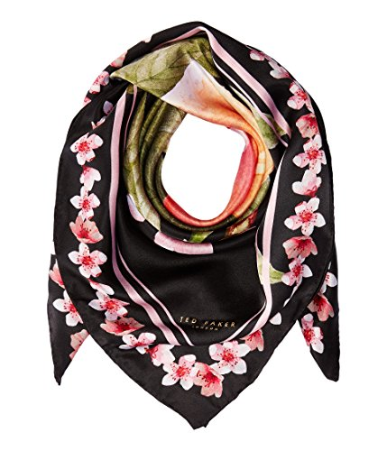 Ted Baker London Women's Peach Blossom Square Scarf, Black, One Size by Ted Baker