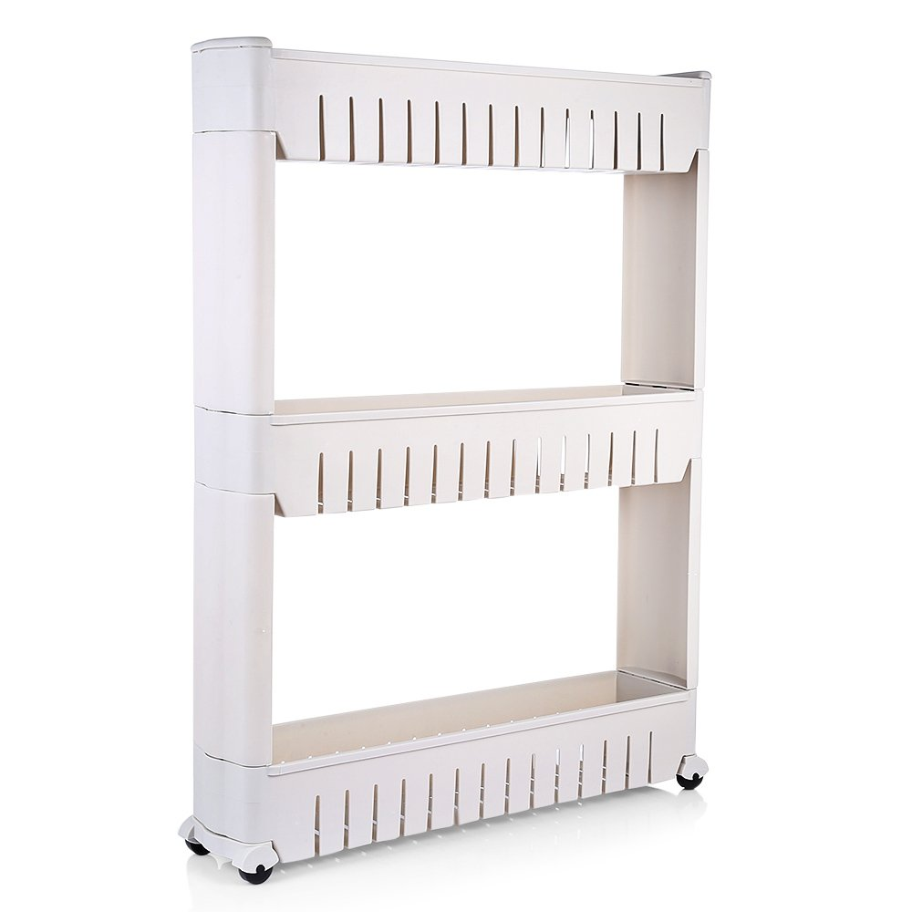 3-Tier Slim Slide Out Tower Rack Shelf with Wheels Gap Kitchen Bathroom Storage Cart Mobile Shelving Unit Organizer
