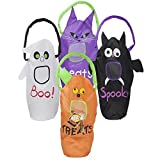 4 Large 23x9 Halloween Trick or Treat Bags for Children to Stuff Their Party Favors, Goodie Bags, Candy, Prizes, Toys, Candies, Treats. The Design on the Bags Are Pumpkin, Bat, Ghost, Cat by DWS