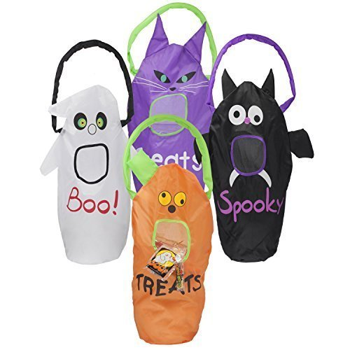 4 Large 23x9 Halloween Trick or Treat Bags for Children to Stuff Their Party Favors, Goodie Bags, Candy, Prizes, Toys, Candies, Treats. The Design on the Bags Are Pumpkin, Bat, Ghost, Cat by (Halloween Party Designs)