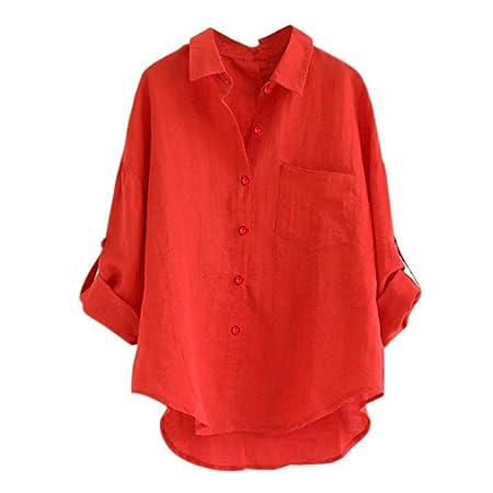 ❤ Camisas Mujer,Modaworld Blusa Suelta de Manga Larga para Mujer Blusa con botón Camiseta Tops niña Camisa de Vestir Blusa Elegantes de Fiesta señoras: ...