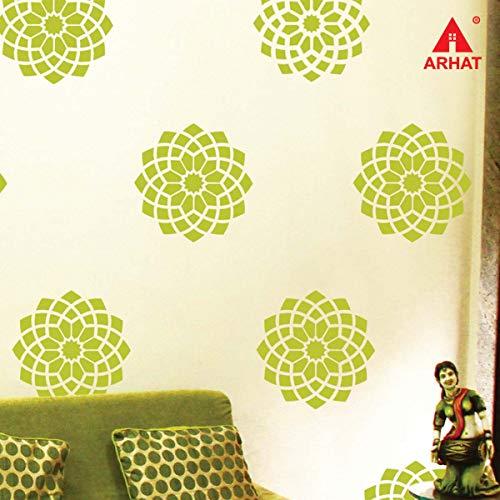 ARHAT STENCILS ASR E120 Damask PVC Glossy Wall Stencil  Transparent