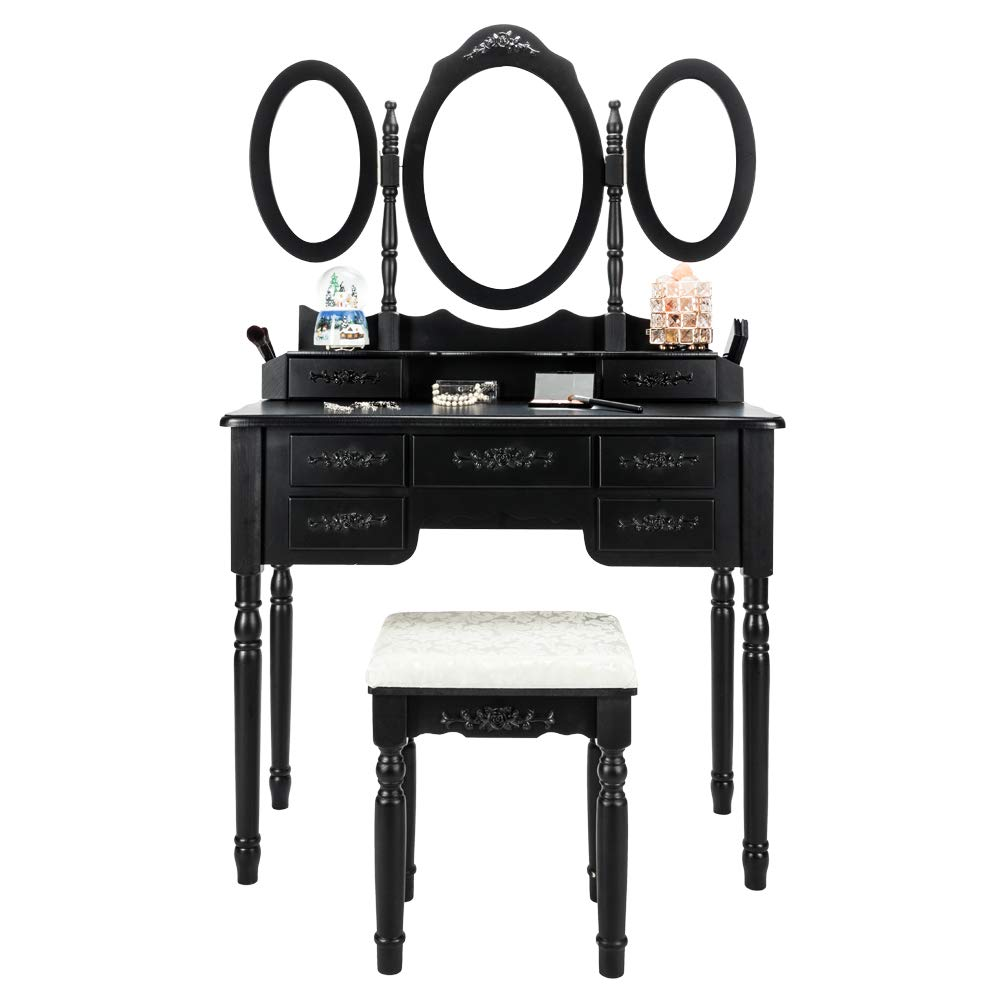 Bonnlo 7 Drawers Vanity Table Set for Girls Tri-Folding Mirrors Makeup Vanity Table with Cushioned Stool&2 Drawer Dividers&2 Makeup Brush Holders,Black