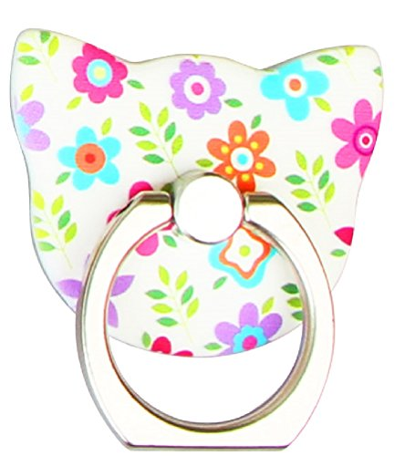 Phone Ring - Flower Metal Kitty Cat - 360 Degree Rotation Full Metal Universal Ring Grip/Stand Holder for Any Smartphones and Device with Base Mounts (White Floral (Kitty Cell)