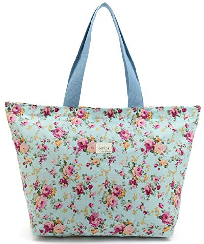 Tote Shopping Bag For Women,Coin Purse MakeUp Bag,School Backpack For Litter Girls Student (E-Tote Bag-Floral-Green)