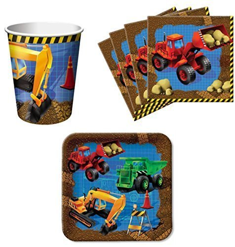 Trucks Under Construction Birthday Party Supplies Set Plates Napkins Cups Kit for 16 by Paper Art