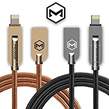 MCDD® [Apple MFi Certified] Aluminum W/ Denim Nylon Cable 2-in-1 Lightning to USB Data Sync Charge Wire Cable, Lightning Micro USB 2.4A Fast Charging Cable for iPhone 7 7Plus 6 6S 6Plus 5s 5c iPad Air mini Samsung & More,1.2M/4ft. Quality & Durable (Gun Metal)