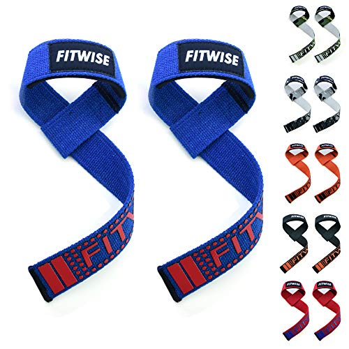 (FITWISE Weight Lifting Straps for Men, Wrist Traps Gym, Grips for Powerlifting, Cotton -Neoprene Padded - for Weightlifting, Crossfit, Deadlifts & Workout Fitness (Blue))