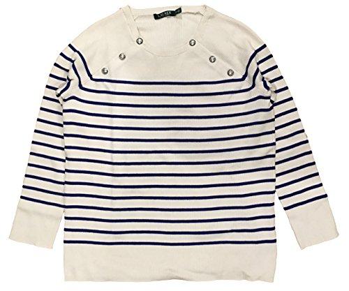 (LAUREN RALPH LAUREN Plus Size Striped Crew Neck Raglan Sweater (1X, Cream))