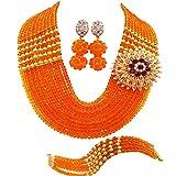 aczuv Nigerian Jewelry For Women African Wedding Necklace Set Crystal Beaded Bridal Jewelry Sets (Orange)