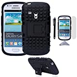 handy case samsung galaxy s3 mini - S3 Mini Case, Wisdompro [2 Piece in 1] Dual Layers [Heavy Duty] Hard Soft Hybrid Rugged Protective Case with [Foldable Kickstand] for Samsung Galaxy S3 Mini (NOT S3 Fit) - Black / Black