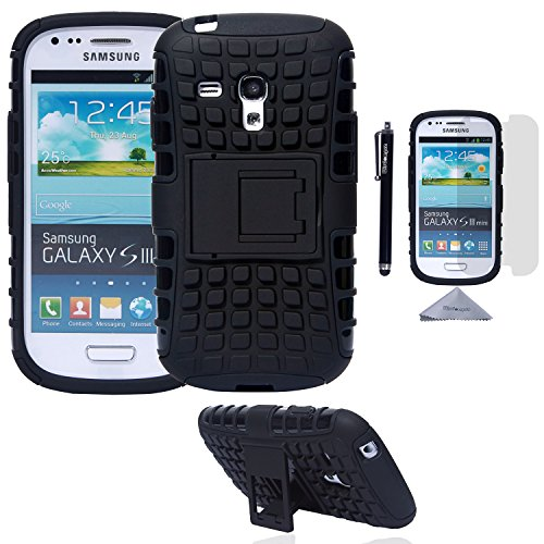 S3 Mini Case, Wisdompro [2 Piece in 1] Dual Layers [Heavy Duty] Hard Soft Hybrid Rugged Protective Case with [Foldable Kickstand] for Samsung Galaxy S3 Mini (NOT S3 Fit) - Black / Black (S3 Cases Mini)