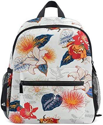 抽象的な赤い花の花幼児就学前のバックパック本袋ミニショルダーバッグリュックサック通学用1-6年旅行男の子女の子