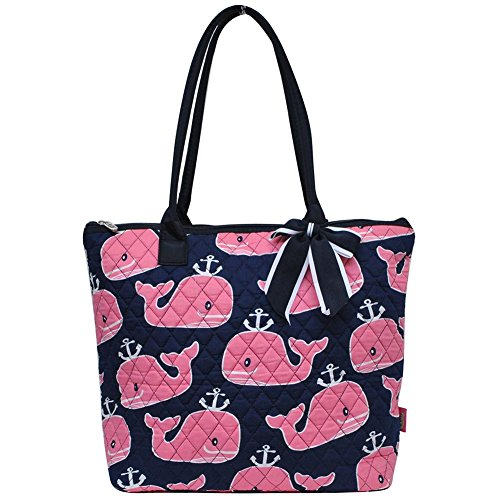 Ngil Quilted Cotton Medium Tote Bag 3 (Pink Whale (Navy Whale)
