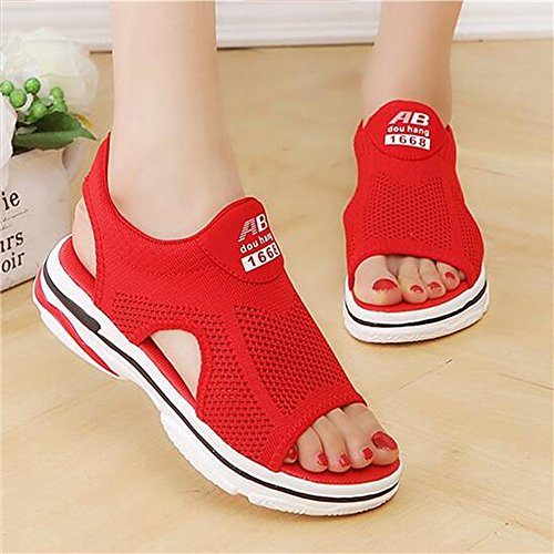 Footwear Shoes Mesh Slip Clog Summer Womens Anti Drying Shoes Mesh Quick Breathable Red edv0d2v266 Lightweight q4CfOxvv