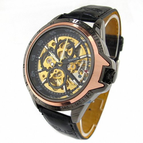 Youyoupifa Black Skeleton Dial Automatic Mechanical Movement Unisex s Watch