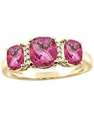 14K Yellow Gold Natural Pink Topaz 3-stone Ring Cushion 8x6mm Diamond Accent, sizes 5 - 10