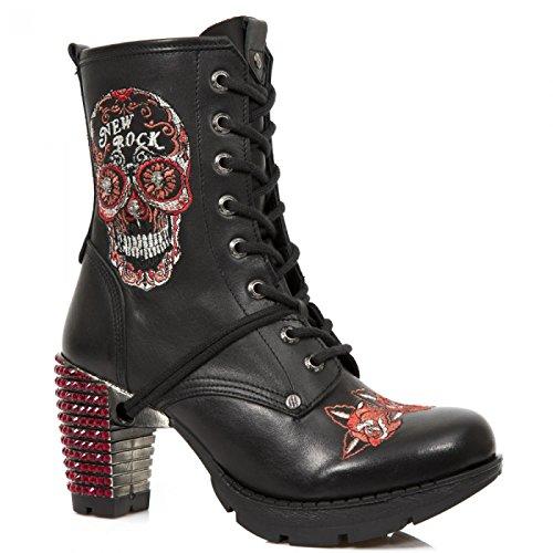 New Rock Boots M.tr048-sw3 Elegante Roccia Urbana Damen Stiefelette Schwarz