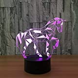 Animals Horse Illusion 3D Night Light Touch Table Desk LED Lamps 7 Color Changing Lights with Acrylic Flat ABS Base USB Charger and Children Family Holiday Gift