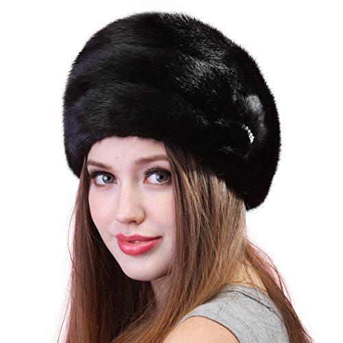 Mandy's Women's Winter Warm Snow Dress Show Genuine Mink Fur Caps Hats (one size adjustable, Black) by Mandy's