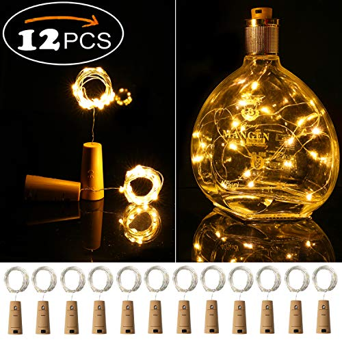 (Ehome Wine Bottle Lights with Cork, 12 Pack Starry Fairy Lights Battery Operated, 7.2ft 20LED Cork Shape Silver Copper Wire String Lights for Party Christmas Decoration Halloween Wedding - Warm)