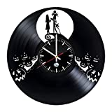 unique nursery ideas NIGHTMARE BEFORE CHRISTMAS Vinyl Record Wall Clock - Get unique nursery wall decor - Gift ideas for kids, boys and girls – Film Characters Unique Modern Art