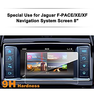 Jaguar F-PACE/XE/XF 8-Inch Car Navigation Screen Protector,LFOTPP [9H Hardness] Tempered Glass Center Touch Screen Protector Anti Scratch High Clarity